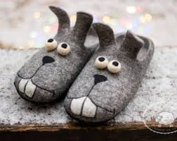 mens grey bedroom slippers. christmas gift bunny slippers mens funny house shoes felted wool rabbit grey bedroom
