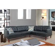 undefined black faux leather sectional sofa set 2 piece
