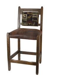 Barnwood Bar counter height barnwood bar stool with brown leather padded seat 2099 by xevi.us