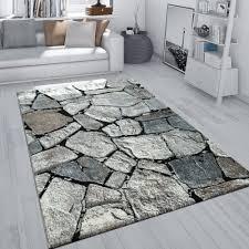 Teppich Fels Motiv Steinboden Design Grau