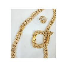 studded 6mm 60cm men s cuban iced out chain necklace hand chain ring gold