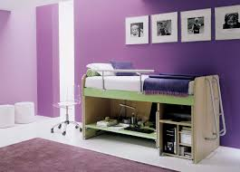 kids multifunction furniture bedroom purple color with bunk bed