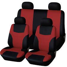 abn car seat covers black maroon 8pc universal fit cloth fits car truck suvs com