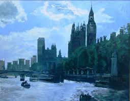 thames view london oil on canvas 36 x 46 inches 91 x117cm