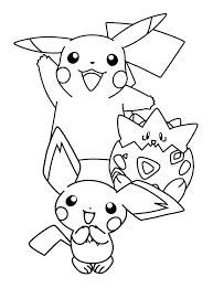 Pokemon Paradijs Kleurplaat Pikachu Togepi En Pichu