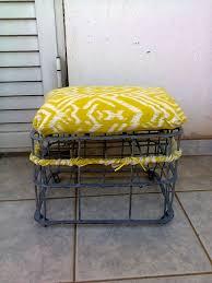 repurposed milk crate into a stool