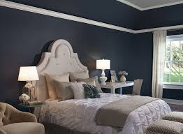 traditional blue bedroom ideas. Simple Traditional Traditional Bedroom Decorating Ideas With Ruffled Vintage White Bedding Set  And Dark Blue Wall Color Intended R
