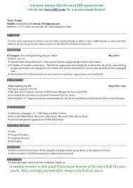 Resume Template Sample Resume For Software Tester Fresher