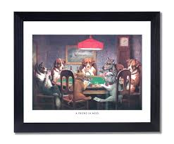 com dogs playing at table animal picture black framed art print 1 posters prints