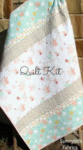 25+ unique Quilt kits ideas on Pinterest | Quilts, Baby quilt ... & Girl Quilt Kit, DIY Project Baby Quilt Kit Bunnies Littlest Art Gallery  Mint Green Coral Pink Gray Simple Easy Beginner Striped Pattern Adamdwight.com