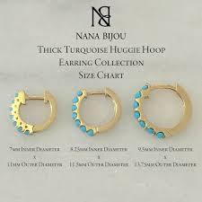 Huggie Hoop Earrings Size Chart