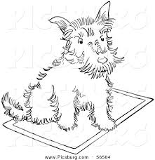 clip art of a scottie dog sitting on a rug black and white line art