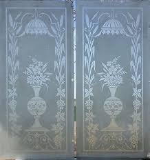 pr beveled antique american etched glass door panels