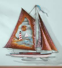 metal sailboat nautical hanging wall art on metal wall art sailing yachts with nautical sailboats metal and wooden wall sculpture