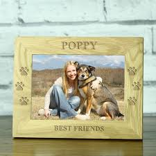 personalised best friends doggy footprints solid oak photo frame