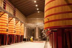oak wine barrels. oak wine barrels la rioja stock photos