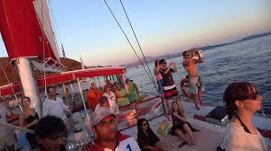 Dream Catcher Boat Santorini Santorini sunset catamaran cruise music from another boat YouTube 85
