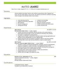 Math Teacher Resume Best Of Sample Teacher Resume Format