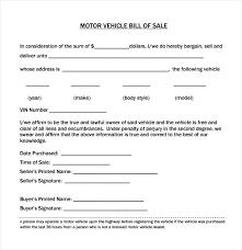 Sample Vehicle Bill Of Sales Word Sale Of Motor Vehicle