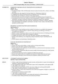 Machine Maintenance Technician Resume Template Cv Industrial
