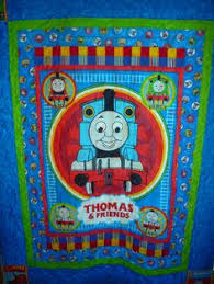 BIG Thomas the TANK Fabric Quilt PANEL Blanket Railroad Train ... & Thomas the Train for my grandson Jamie Adamdwight.com