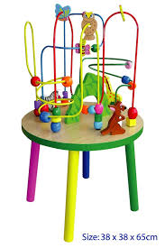 large wooden wire bead maze table 65cm h