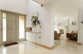 glass console table entrance hallway
