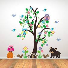 ... Very Best Wall Art Stickers Childrens Rooms Tree Black Dog Animal  Contemporary Blue Birds Green Simple