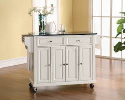 crosley furniture solid black granite top kitchen cart in white finish island inch islands microwave movable