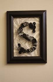 easy peasy wall art for girls to do on framed monogram letter wall art with buttons i love this and it is my initial and my daughter s new