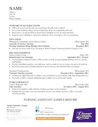Sample Resume For Nursing Assistant Position Resume For A Nursing