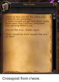 Plain Letter I Want To Than You For The Armor You Made For