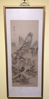 vintage hand painted chinese painting on silk signed seal mark framed scroll