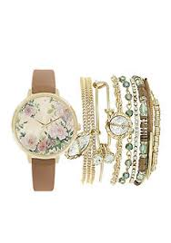 women s watches belk american exchange women s floral and gold tone watch and bracelet set