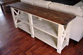 image of rustic wood sofa tables