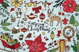 merry christmas and happy holidays clip art.  And Merry Christmas U0026 Happy Holidays Hand Drawn Clip Art And C
