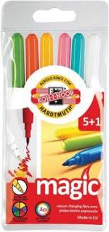 "<b>Фломастеры</b> ""<b>Koh</b>-i-<b>noor</b>. <b>Magic</b>"", 6 штук, смываемые (5 цветов + ..."