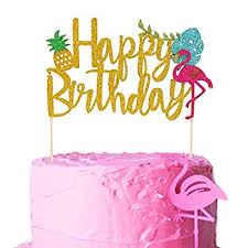 Amazoncom Flamingo Pineapple Cake Toppers Happy Birthday Cake