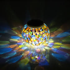 outdoor table lamps for patio powered mosaic glass ball garden color changing solar lights parties decorations