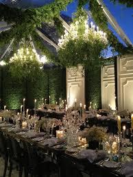 outdoor garden wedding chandeliers