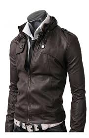 on pocket mens slim fit dark brown leather jacket