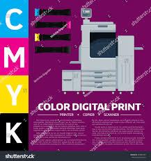 Printing Equipment Color Printer Cartridge Sample Stock Vector