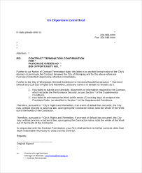 contract termination letter letter to terminate a contract