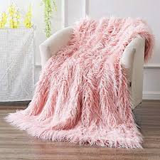 pink throw ojia super soft fuzzy gy mongolian lamb throw blanket plush warm fluffy cozy elegant