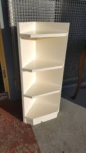 solid wood corner shelves painted white