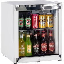 schmick glass door bar fridge tropical mini 50litre strong shelving hold plenty of weight
