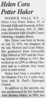 Obituary for Helen Cora Potter Haker, 1911-2005 (Aged 93) - Newspapers.com