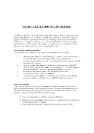 Medical Receptionist Job Description Resume writing a cover letter for a receptionist position best 69