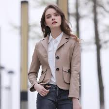 2018 2017 women fashion genuine camel leather jacket real sheepskin slim fit short casual leather coat factory direct from red2016 441 55 dhgate com