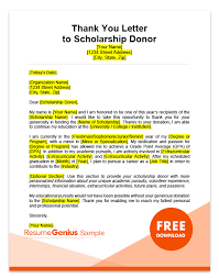 Scholarship Thank You Letter Samples Free Ms Word Templates